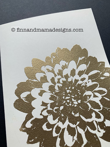 Ivory and Gold Dahlia Blank Card--Set of Four
