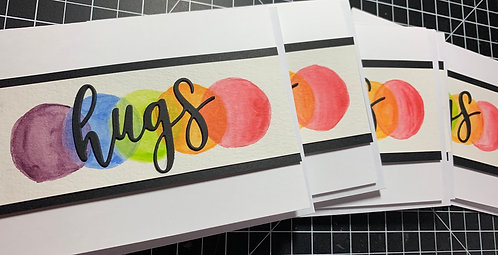 Set of Six (6) Watercolor Hugs cards