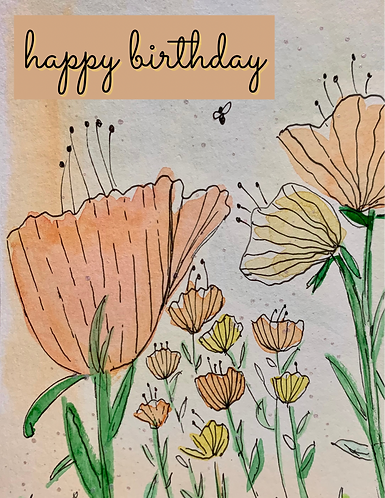 Peachy Floral Watercolor Birthday Card
