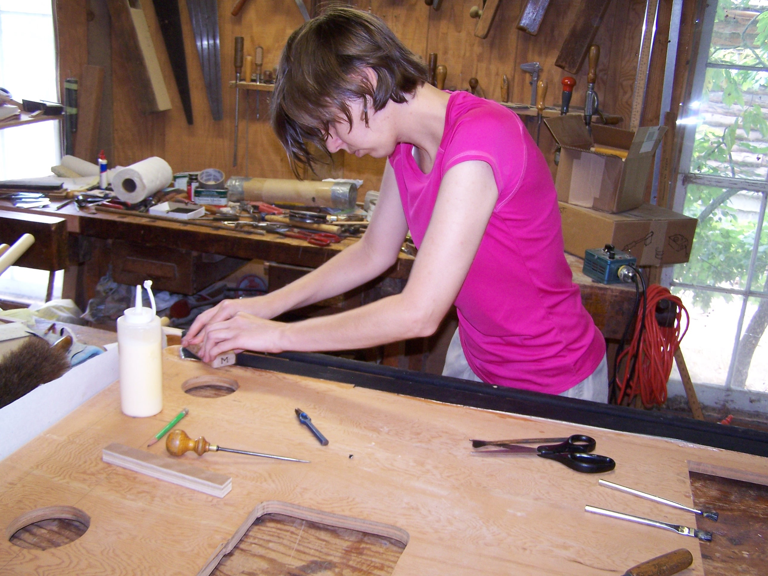Whitney working on the bellows