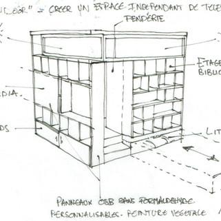 Projet de mobilier sur mesure: espace de télétravail, meuble TV, bibliothèque, penderies et couchage d'appoint
