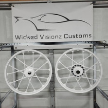 Moped wheels done in gloss white