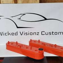 LS1 custom aluminum valve covers done in Chevy Orange