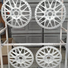 Work wheel faces refinished in gloss white