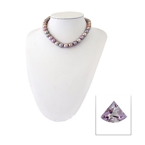 Amethyst + freshwater pearl necklace
