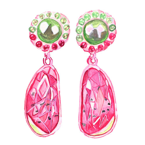 """Yummy"" 13.8ct watermelon tourmaline earrings"