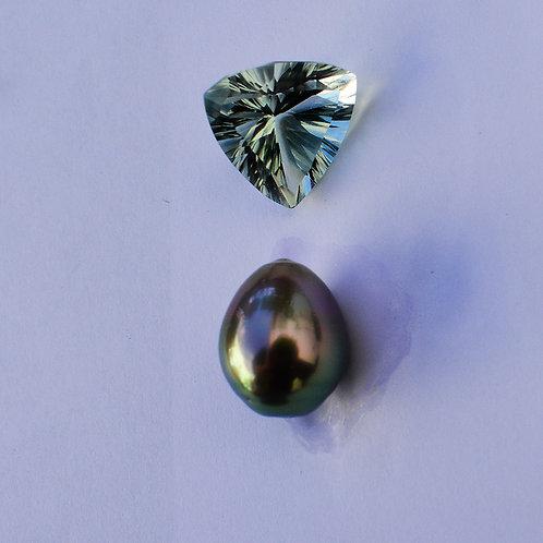 Praseiolite + 11.5mm Tahitian pearl pendant