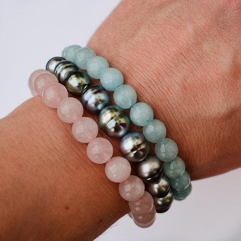 """Ocean Sunrise"" Tahitian pearl bracelet set"
