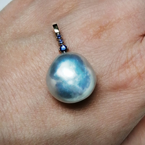 """Melted ice"" blue South sea pearl pendant"