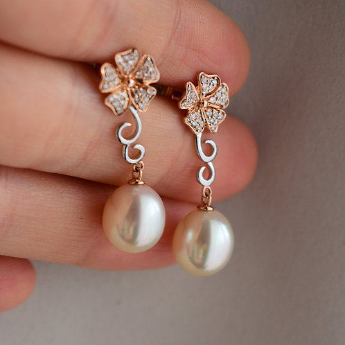 """Plumeria"" 10mm South sea pearl earrings"