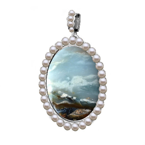 """By the Ocean"" akoya pearl pendant"