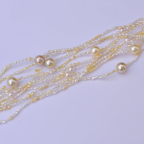 """Tones of Gold"" 1.5 and 5-8mm multi-strand akoya pearl necklace"
