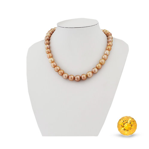 Citrine + freshwater pearl necklace