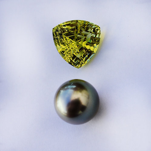 Lemon quartz + 12mm Tahitian pearl pendant