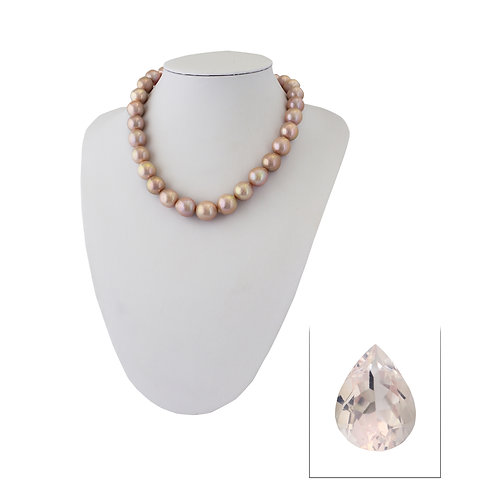 Rose quartz + freshwater pearl necklace