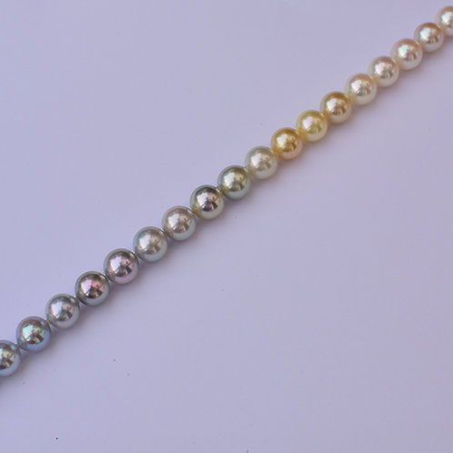 "Collector's piece: ""All Shades of Nature"" 8mm mirror ombré akoya pearl necklace"