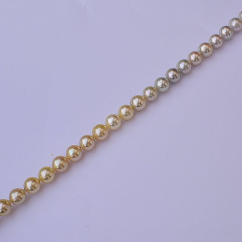 """Gold and Silver"" 8mm ombré akoya pearl necklace"