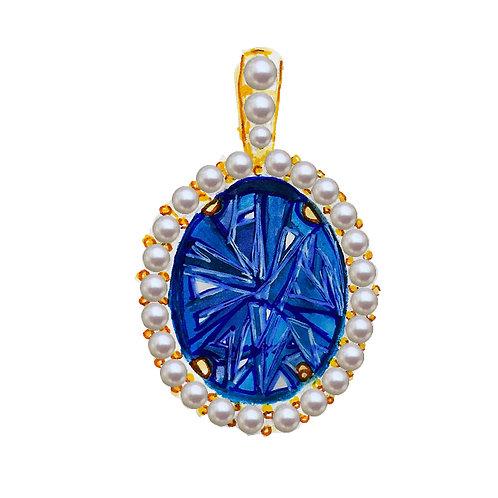 """Diana"" Lab-created Ceylon blue sapphire pendant"