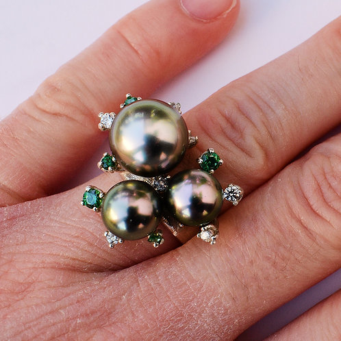 """Splash!"" 9-12mm Tahitian pearl ring"