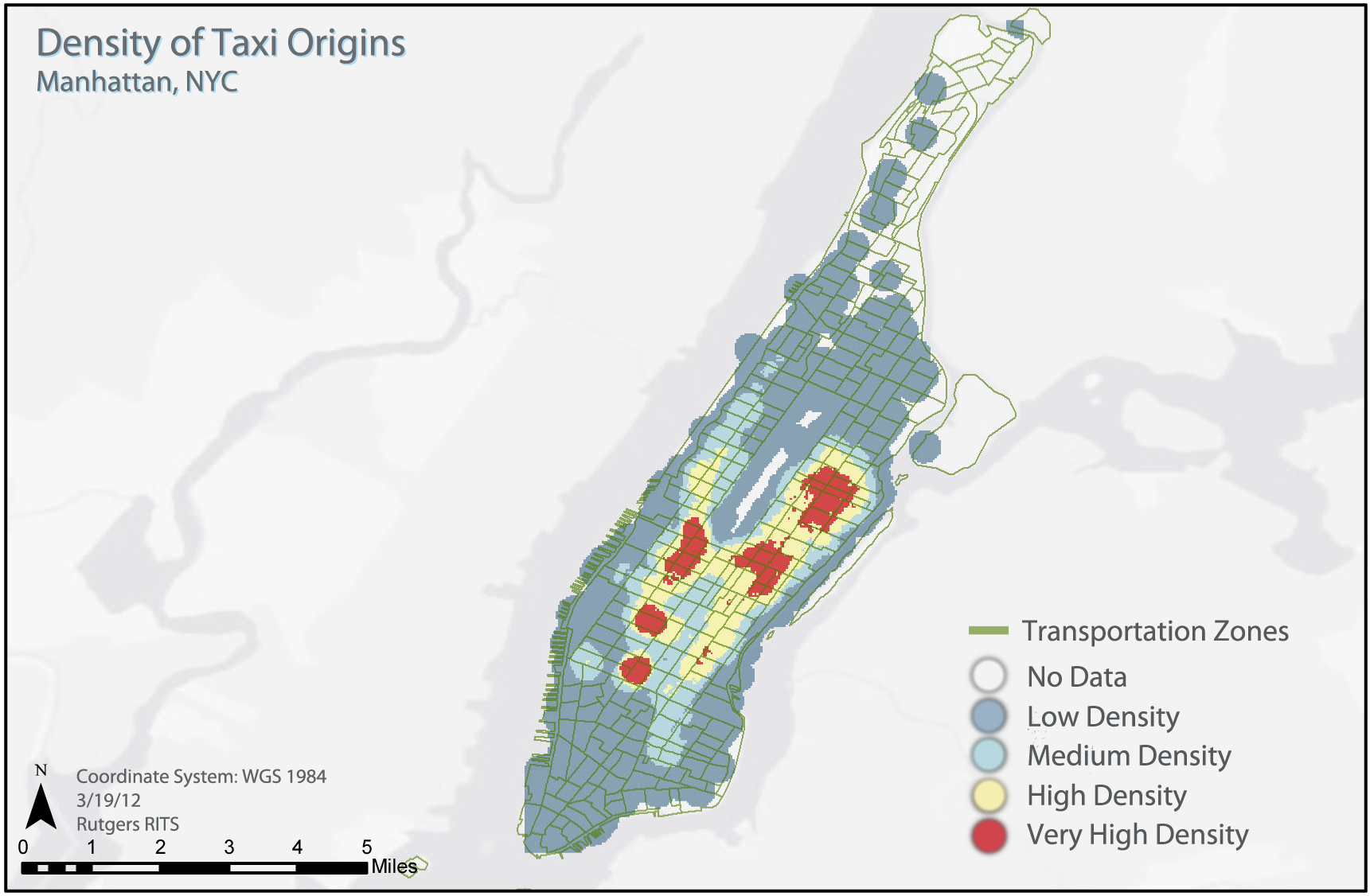 Taxi density within NYC