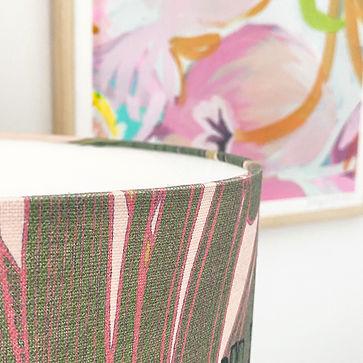 lampelier pink banana palm lampshade