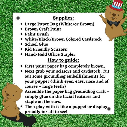 Groundhog paper bag craft (Complete)CDM