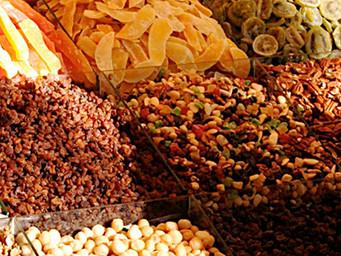 Frutas secas, desidratadas, cristalizadas e sementes oleaginosas