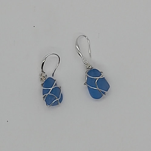 Seaglass or Tumbled Glass Silver Earrings