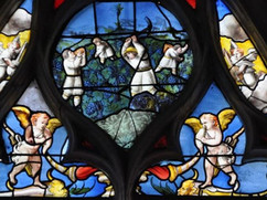 Stained Glass Window of a Church Representing the Harvest