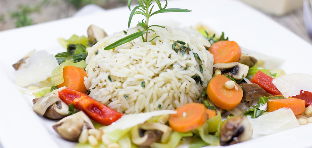 rice with roasted vegetables on a plate