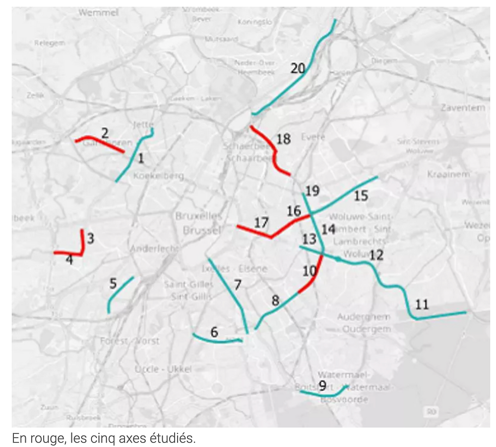 axes studied by Touring and stratec for bicycle roads in Brussels
