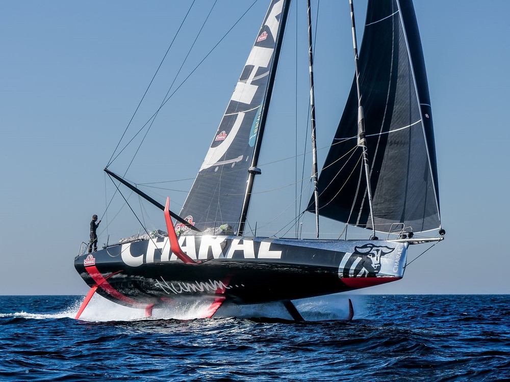 IMOCA Sailing boat Charal with foils