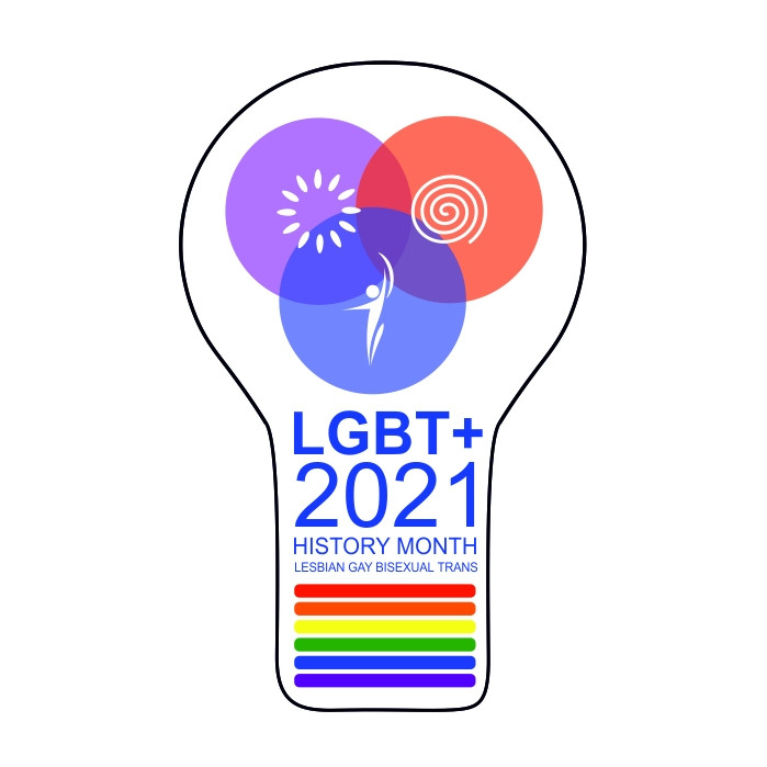 Lightbulb logo for LGBT+ History Month 2021 for Lesbian, Gay, Bisexual, Trans. Images inside lightbulb include representations of mind, body and spirit.