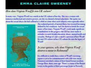Virginia Woolf Statue asks: Emily Midorikawa and Emma Claire Sweeney