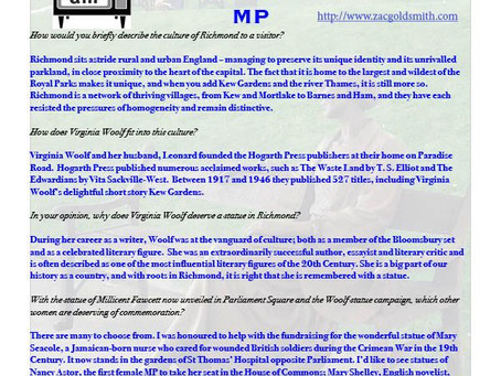Virginia Woolf Statue asks Zac Goldsmith MP
