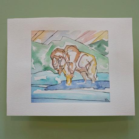 yellow stone - aquarelle