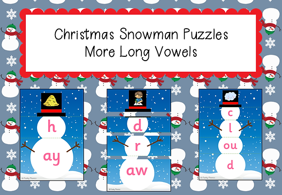 Christmas Themed - Christmas Snowman Puzzles: More Long Vowels