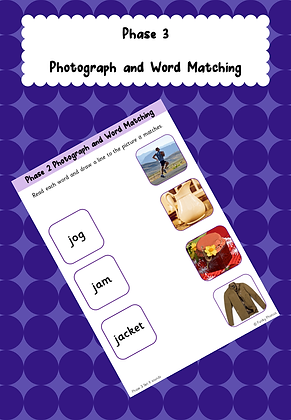 Phase 3 Photograph and Word Matching Worksheets