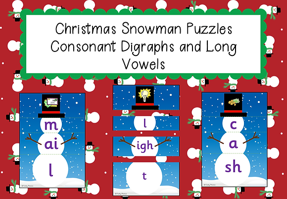 Christmas Themed - Christmas Snowman Puzzles: Consonant Digraphs and Long Vowels