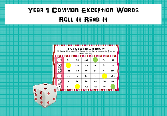 Year 1 Common Exception Words - Roll It, Read It Games