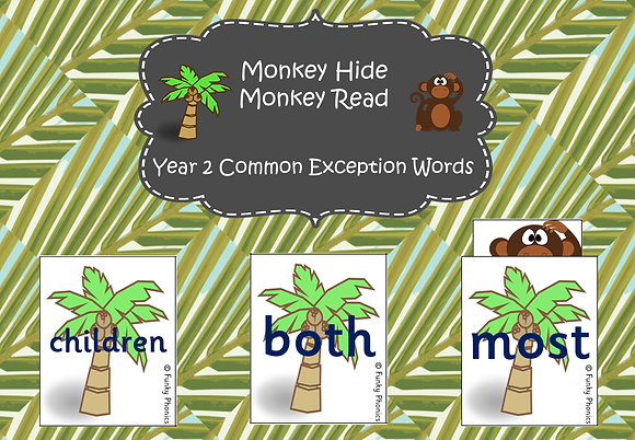 Year 2 Common Exception Words - Monkey Hide, Monkey Read Game