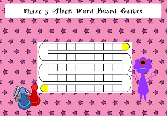 Phonics Screening - Phase 3 Alien Word Board Games
