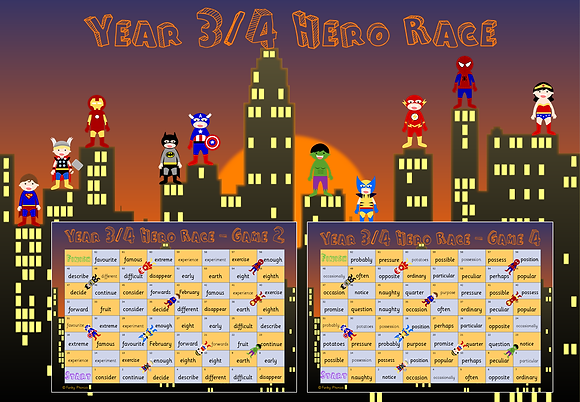 Year 3/4 Common Exception Words - Hero Race Game