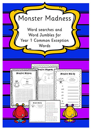 Year 1 Common Exception Words - Word Searches and Word Jumbles