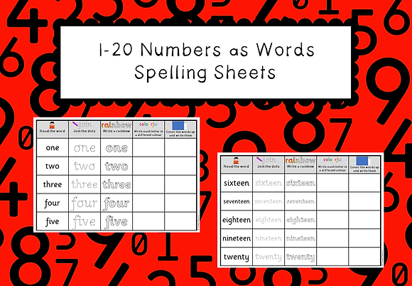 Numbers as Words 1- 20 Spelling Sheets