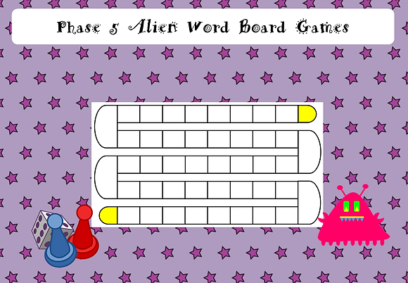 Phonics Screening - Phase 5 Alien Word Board Games