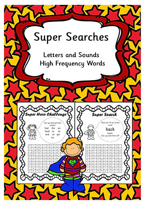 Letters and Sounds High Frequency and Tricky Words - Word Searches
