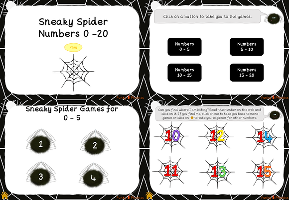 Sneaky Spider - Number recognition 0-20