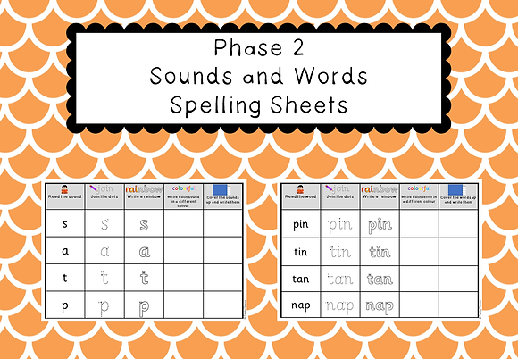 Phase 2 - Sounds and Words Spelling Sheets