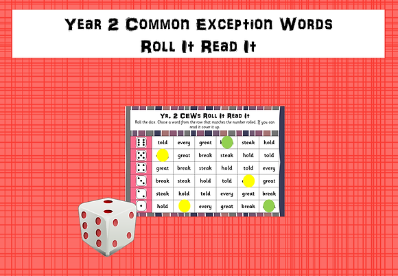 Year 2 Common Exception Words - Roll It, Read It Games